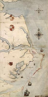 abc Mapa elaborado por John White de Virginia. En él destaca la isla de Roanoke