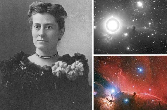 Williamina Fleming hacia 1890 junto al sector de la placa, de 1888, en la que por primera vez identificó la nebulosa Cabeza de Caballo. Abajo, una toma reciente del mismo campo / grupo de astrofotografía del IAC, 2012.