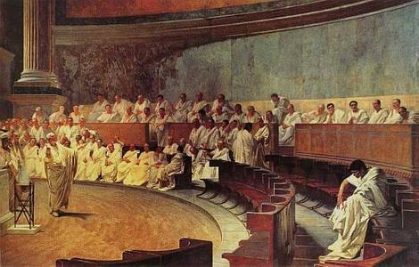 wikipedia   Cicerón pronuncia su discurso contra Catilina, por el pintor Cesare Maccari