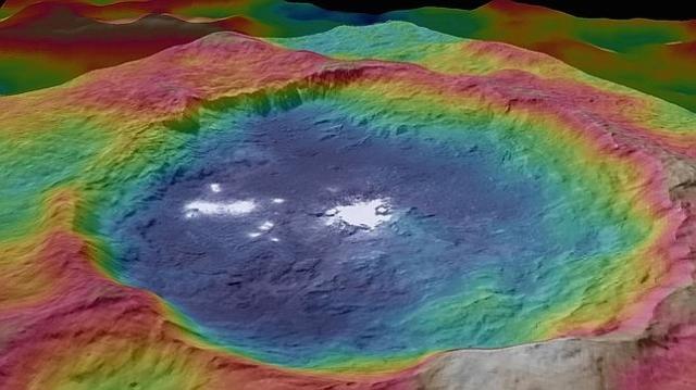 NASA/JPL-Caltech/UCLA/MPS/DLR/IDA/PSI Vista detallada y en falso color del cráter Occatos y sus extrañas manchas brillantes