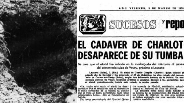 El hoyo dejado en el cementerio de Corsier-sur-Vevey tras el robo, y la noticia recogida por ABC