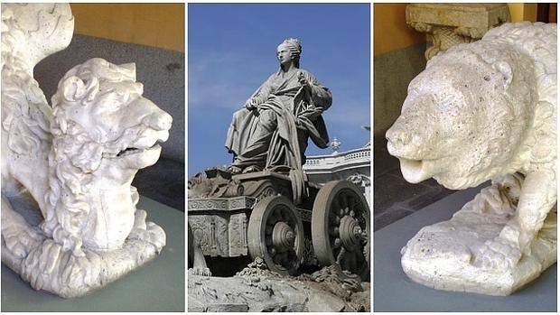 La fuente de la Cibeles, flanqueada por las esculturas del oso y el dragón - ABC