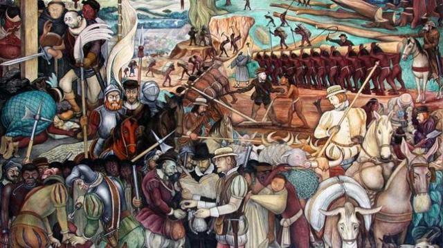 wIKIPEDIA Mural de Diego Rivera sobre la Conquista de México. Palacio Nacional de la Ciudad de México