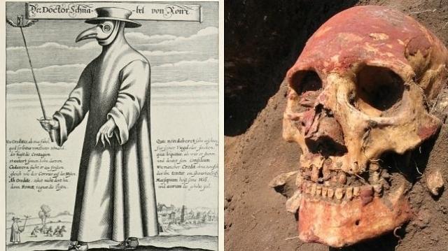 Paul Fürst/Natalia Shishlina A la izquierda, un «médico de la peste», en la Edad Media, a la derecha, un poblador europeo de la Edad del Bronce