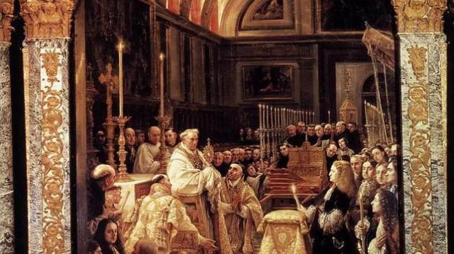 ABC Pintura que muestra a Carlos II durante la bendición del Santísimo en la basílica de El Escorial