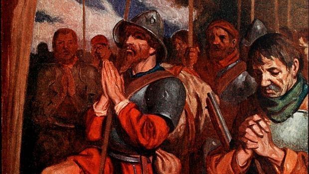 Los conquistadores oran antes de la entrada a Tenochtitlan - Wikimedia