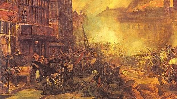 Ilustración de la lucha entre españoles y la población civil atrincherada en Amberes - Wikmedia