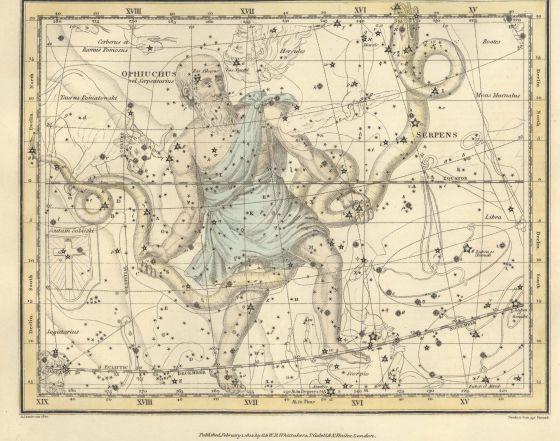 Constelación de 'Ofiuco', del 'Celestial Atlas', de Alexander Jamieson (1822).