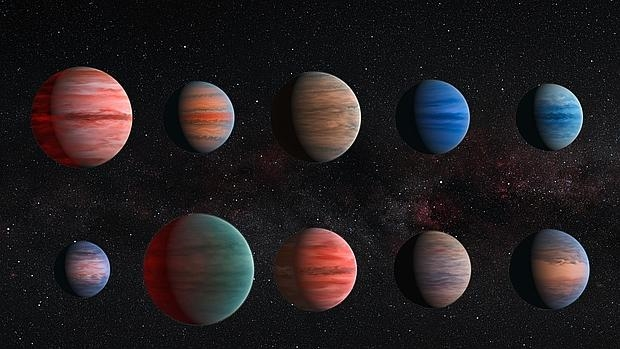 """Estos son los diez """"Júpiter calientes"""" analizados por los científicos. De izquierda a derecha: WASP-12b, WASP-6b, WASP-31b, WASP-39b, HD 189733b, HAT-P-12b, WASP-17b, WASP-19b, HAT-P-1b y HD 209458b - ESA/Hubble & NASA"""