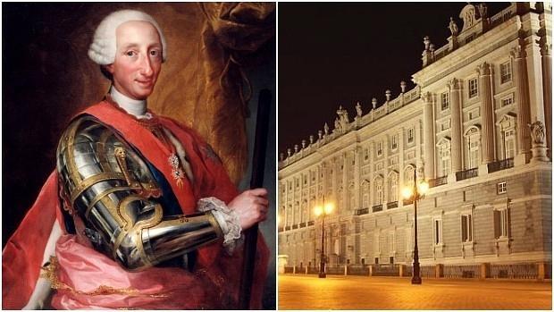 A la izquierda, retrato del rey Carlos III; a la derecha, el Palacio Real iluminado de noche - ABC
