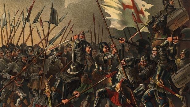 El portaestandarte portugués defiende la bandera real ante el ejército fernandino en Toro - Wikimedia