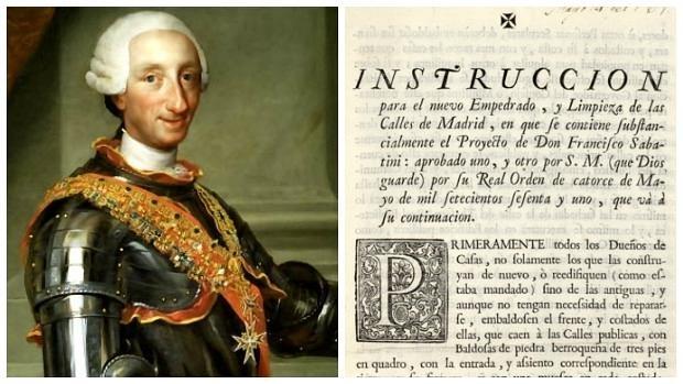 El Rey Carlos III, junto a la ordenanza del nuevo empedrado y limpieza de las calles de Madrid - ABC/BIBLIOTECAVIRTUALMADRID