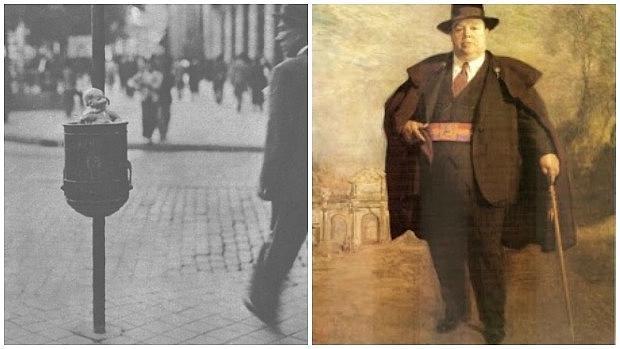 Una de las papeleras instaladas en 1934; a la derecha el alcalde Pedro Rico López - SECRETOSDEMADRID.ES