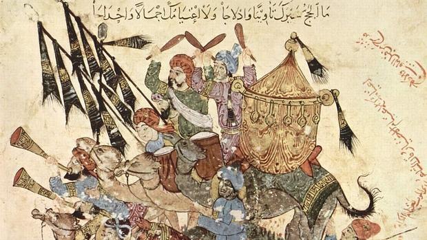 Guerreros musulmanes representados en el manuscrito musulmán de la Maqamat Al-Hariri - wikimedia