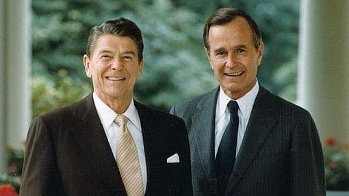 Ronald Reagan, impulsor de La Guerra de las Galaxias, y su vicepresidente George H. W. Bush