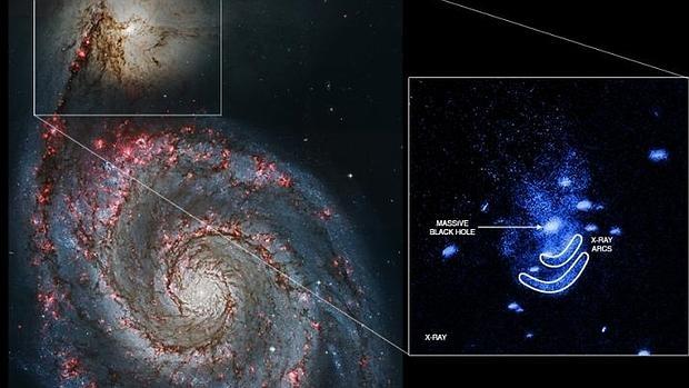 La colisión entre estas dos galaxias ha producido una gran actividad en e agujero negro central de NGC 5195, la más pequeña - Eric Schlegel/Universidad de Texas en San Antonio