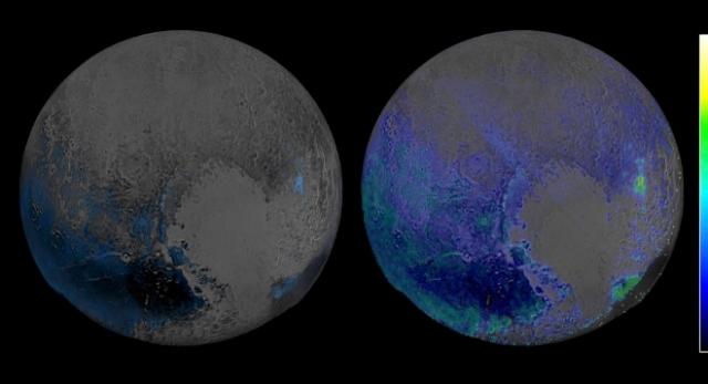 Los esacenos de Plutón que cubren el hemisferio visible al New Horizons. NASA/JHUIAPL/SWRI