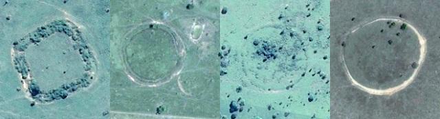 Un geoglifo cuadrado del Amazonas y tres con forma circular captados desde el espacio por satélites. GOOGLE EARTH