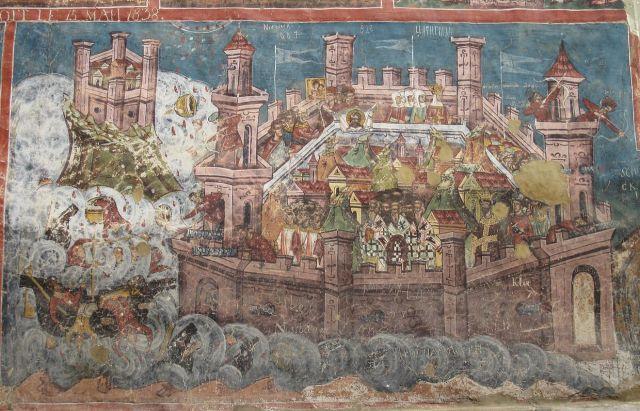 El mural recoge el asedio de Constantinopla en 626 por persas y ávaros, expulsados de las estepas por el hambre y los turcos. Su derrota supuso el fin del imperio persa. Wikimedia Commons