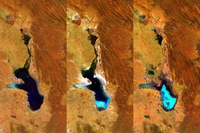 Imágens del minisatélite Proba-V atestiguan la evaporación del lago Poopó. PROBA-V/ESA