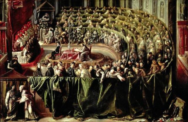 Óleo anónimo que representa el juicio a Galileo ante el Santo Oficio. ERICH LESSING