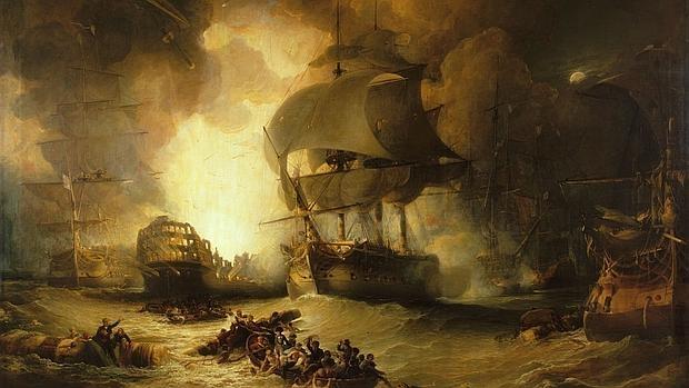 El buque insígnia francés explota durante la batalla - Wikimedia