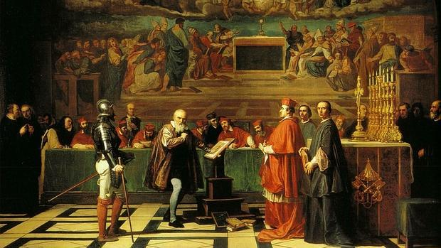 Cuadro de Robert-Fleury en el que aparece Galileo ante el tribunal de la Inquisición