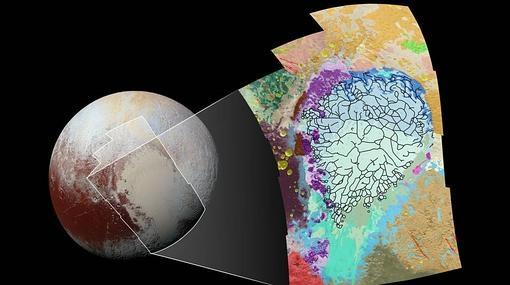 Mapa de los tipos de terreno de Plutón elaborado por la NASA- NASA/JHUAPL/SwRI