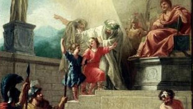 Cuadro de los los santos niños Justo y Pastor conducidos al martirio del pintor José del Castillo - ABC