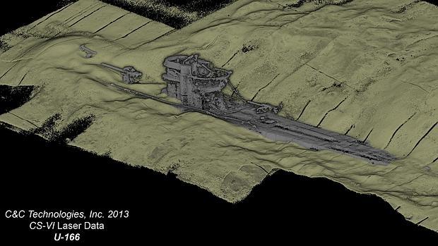 Imagen trideimensional del U-166, un submarino alemán hundido en 1942 - BOEM/C&C Technologies, Inc