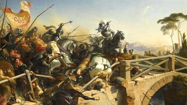 Pierre Terraill de Bayardo, uno de los participantes en el duelo, defiende el puente en la batalla de Garellano - Wikimedia