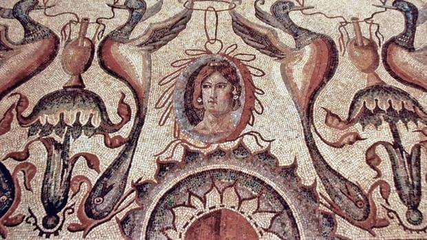 Uno de los mosaicos que se pueden ver en La Olmeda - VILLA OLMEDA