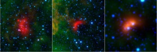Arcos de proa creados por tres estrellas fugitivas. NASA/JPL-Caltech/Univ.Wyoming