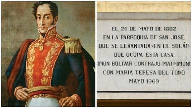 Retrato de Simón Bolívar y placa conmemorativa de la boda del militar en Madrid - ABC