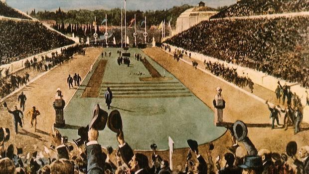 Representación de la inauguración de los Juegos de Atenas de 1896 - COI
