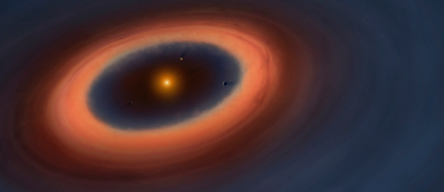 Recreación de un sistema planetario con cinturón cometario. ALMA/ESO/NARO/NAOJ/Canovas et al.