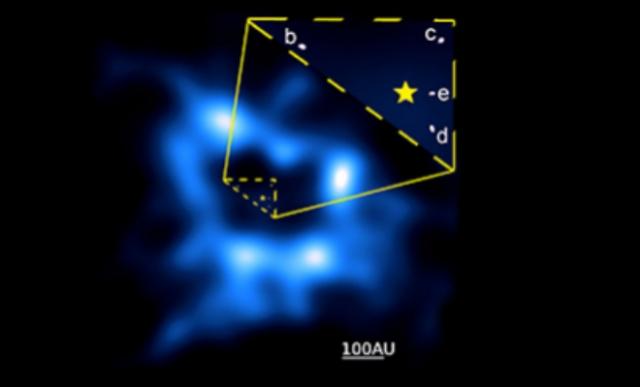 El cinturón cometario y los 4 planetas de la estrella HR8799. ALMA/NRAO/ESO/NAOJ Booth et al.