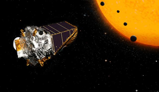 Recreación artística del conjunto de exoplanetas recién descubierto por la misión Kepler. NASA
