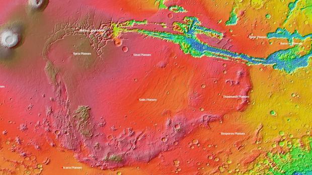Un mapa de Marte, que incluye la región llamada Thaumasia Planum - Wikimedia