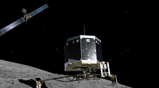 Representación de la misión Rosetta, con la sonda orbitadora del mismo nombre al fondo, y el pequeño módulo de aterrizaje Philae, en el centro- ESA
