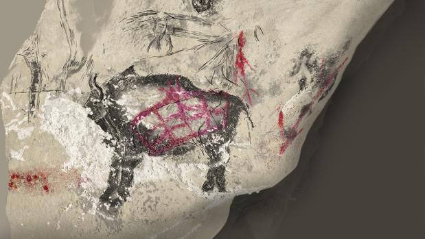 Reproducción de un bisonte pintado en la cueva Marsoulas (Haute-Garonne, Francia) durante la época Magdaleniense - Carole Fritz