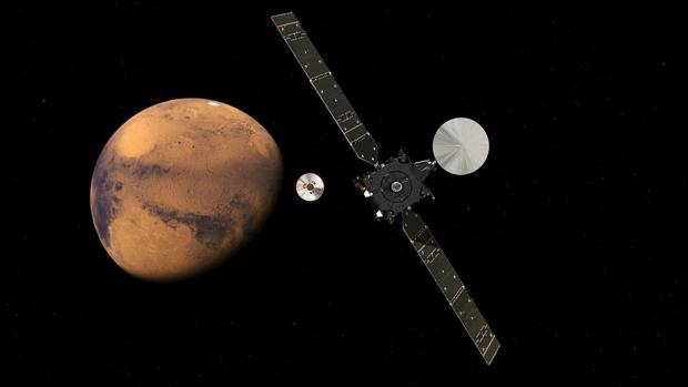 Recreación de la misión ExoMars, aproximándose a Marte - ESA/ATG medialab