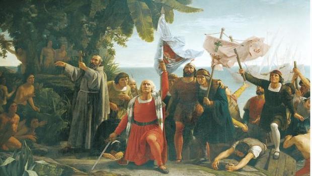 Pintura que representa la llegada de Colón al Nuevo Mundo