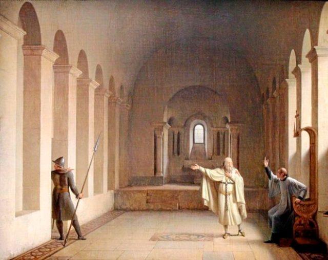 Cuadro de François Marius Granet representando el último día del Gran Maestre templario Jacques de Molay.