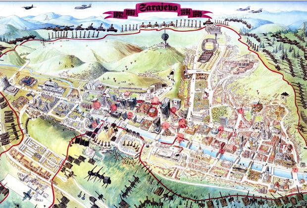 Mapa de la ciudad de Sarajevo en 1996 - Miran Norderland