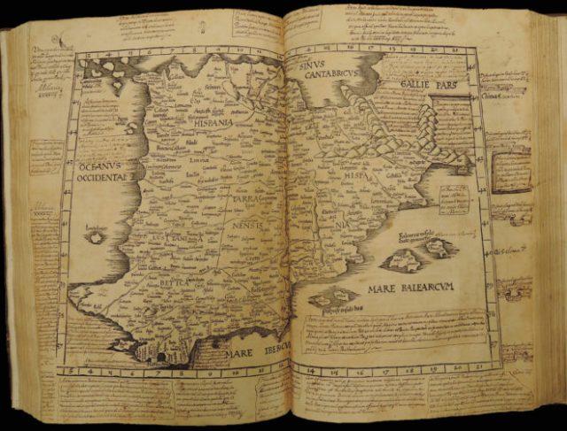 Uno de los dos mapas de España impresos en 1525. Ahora reunifcados en un ejemplar BIBLIOTECA DE LA UNIVERSIDAD DE PRINCETONDIVISIÓN DE LIBROS RAROS Y COLECCIONES ESPECIALES