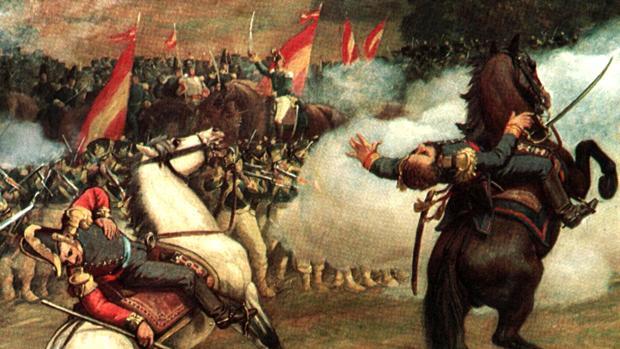 Fragmento de la Batalla de Carabobo. Oleo sobre tela - Palacio Federal Legislativo