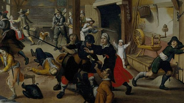 Soldados asaltan una granja alemana, por Sebastian Vrancx, 1620
