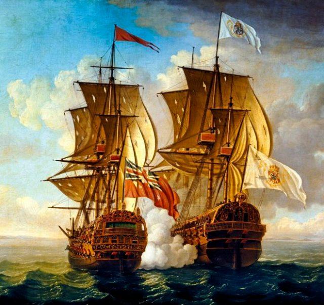Óleo que representa el ataque inglés a la ruta del galeón de Manila, nombre que recibieron durante más de dos siglos los barcos y el tramo que conectaba Oriente y Occidente. J. CLEVELEY EL JOVEN