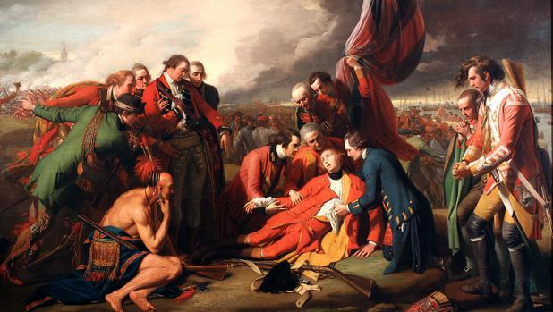 La muerte de general Wolfe (1771), en las Llanuras de Abraham, cerca de Quebec (Benjamin West).